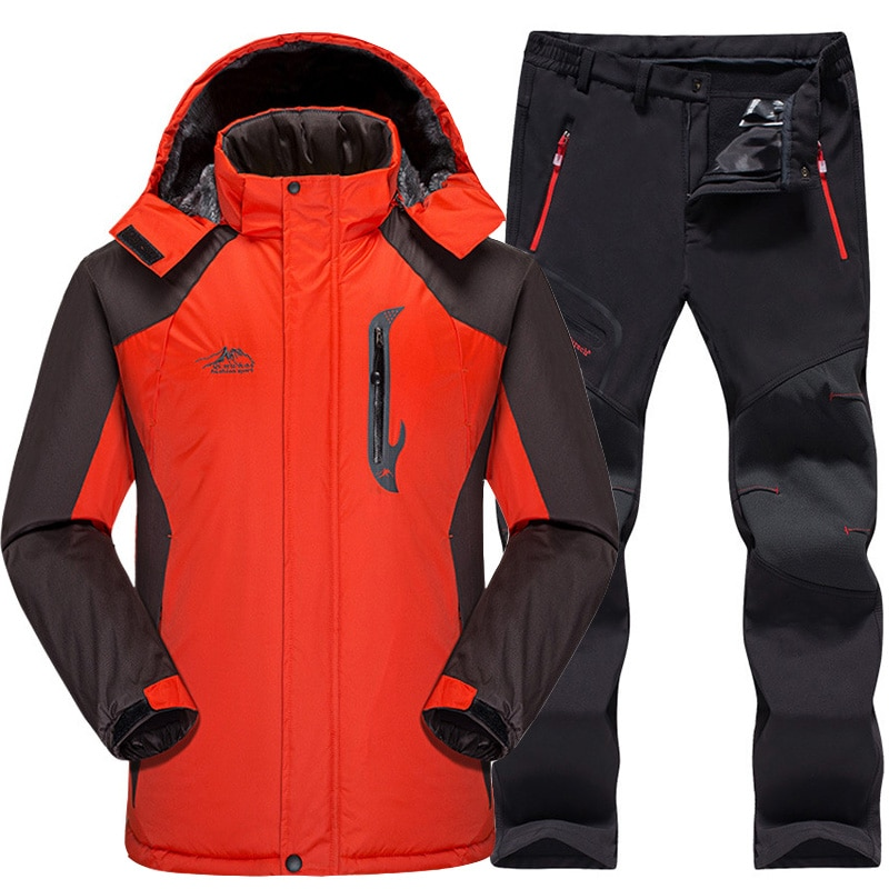 Лыжный костюм мужской водонепроницаемый термальный флисовый пиджак для сноуборда + брюки Мужской комплект зимней одежды для горных лыж и с...