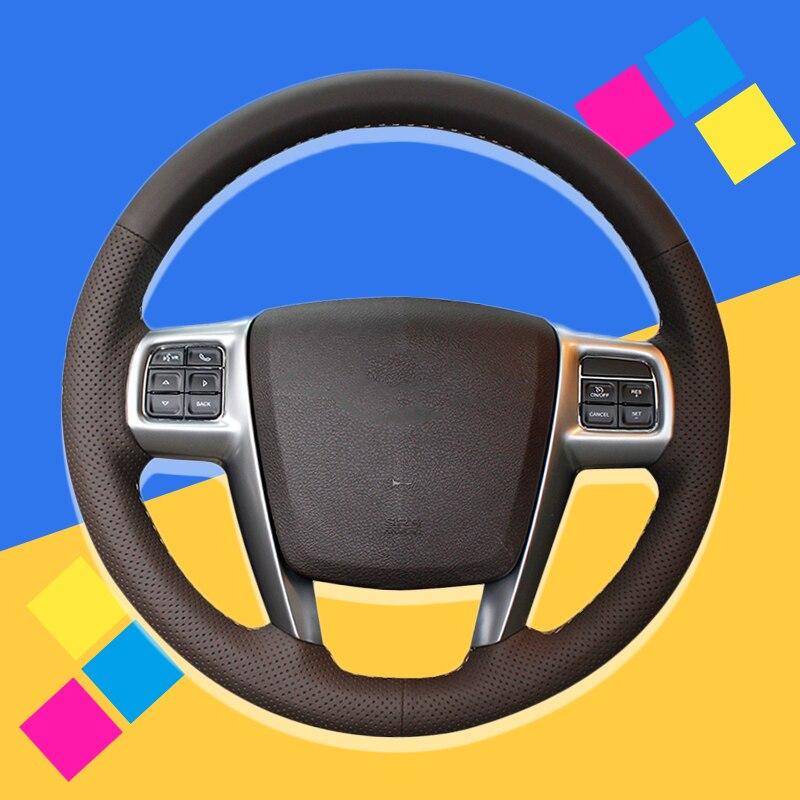 Trenza de automóvil en la cubierta del volante para Chrysler 300C 200 Grand Viajero 2011-2014 cosido a mano fundas de rueda de coche estilo de coche