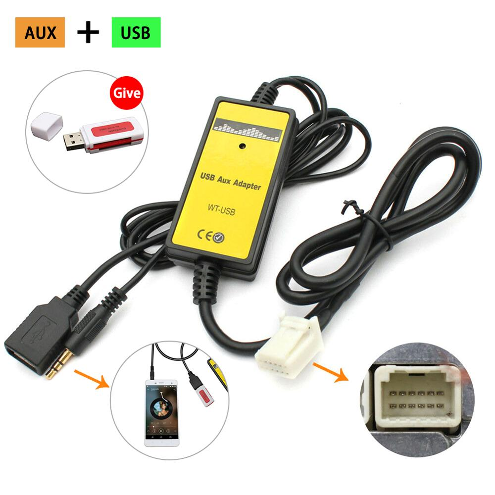 Adaptador de interfaz de MP3 AUX USB 12V para coche, reproductor de MP3, Radio para Toyota Camry 6 + 6pin 3,5mm, Cables Jack, enchufes, adaptador USB para coche