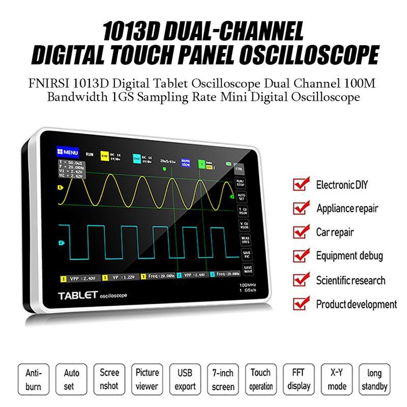 جديد FNIRSI-1013D الرقمية اللوحي راسم الذبذبات ثنائي القناة 1GS معدل أخذ العينات 100 متر عرض النطاق الترددي قرص صغير ملتقط الذبذبات الرقمي