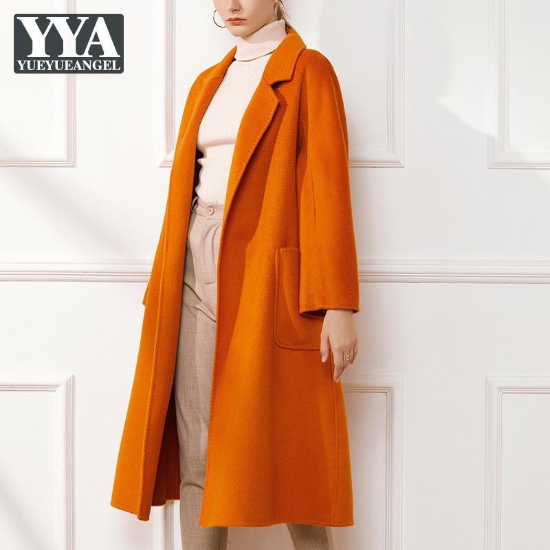 مكتب السيدات بلون أنيقة الصوف معطف طويل بدوره إلى أسفل طوق حزام معطف المرأة طويلة الأكمام عالية الجودة موضة ملابس خارجية