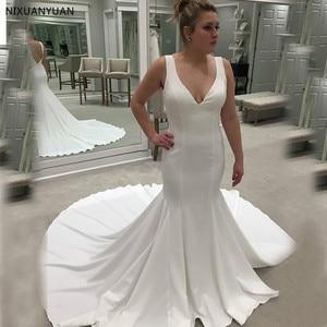 V-neck Sleeveless Satin Wedding Dresses Sweep Train Bridal Gowns Mermaid Style White Ivory Wedding Gowns