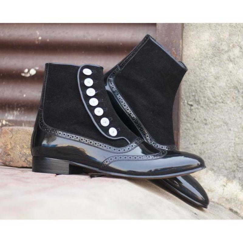 الرجال بولي Leather جلد جديد اليدوية زر الأحذية الكلاسيكية أحذية الكاحل الرجال أحذية عادية موضة شتاء أحذية قتالية KR153