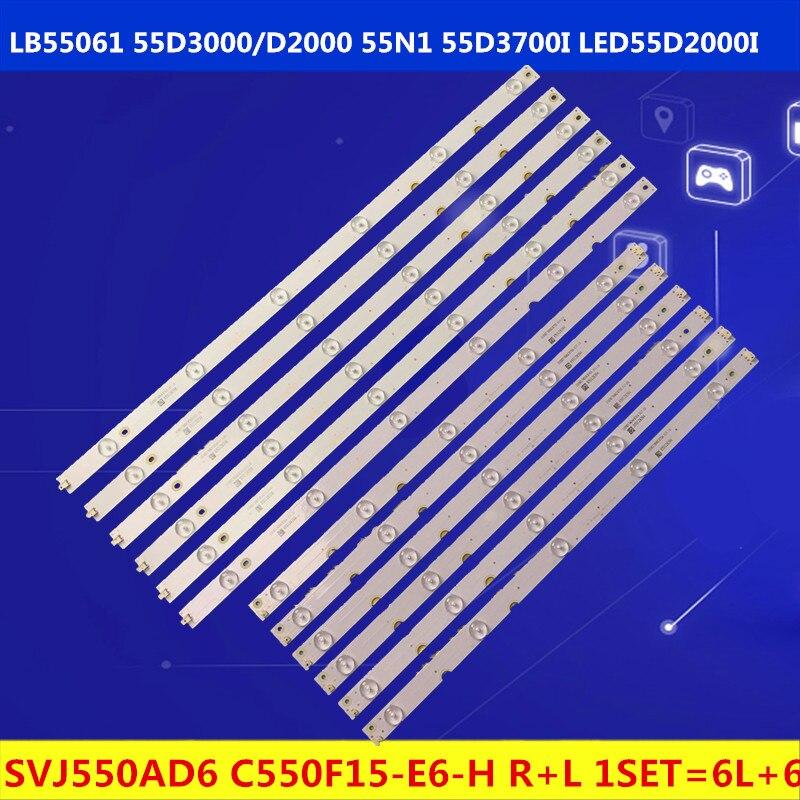 12pcsLB55061 HITACHI LE55A6R9 LE55A6R9A LU55V809 LB55055 retroiluminación LED tiras 55D3000 D2000 KHP200682A KHP200681A