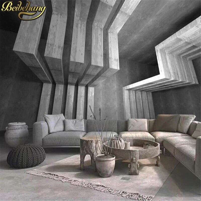 beibehang custom Geometric cement building photo wallpaper for walls 3 d bedroom TV backdrop mural wall paper bedroom decor