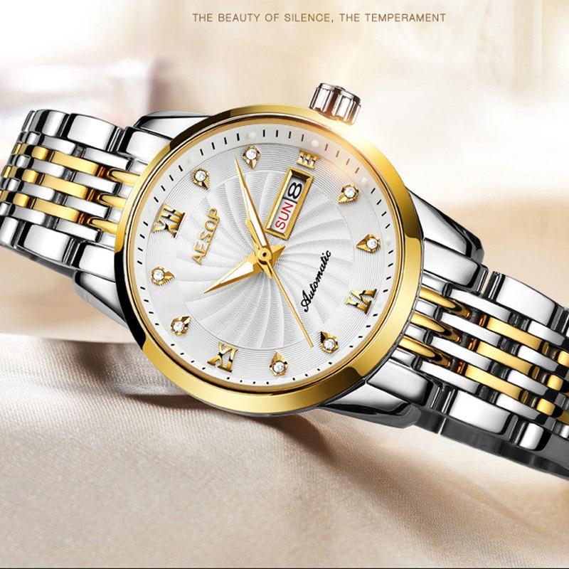 AESOP Brand Ladies Fashion Gold Watch Woman Waterproof Calendar Automatic Mechanical Wristwatch Sapphire Luxury Relogio Feminino enlarge