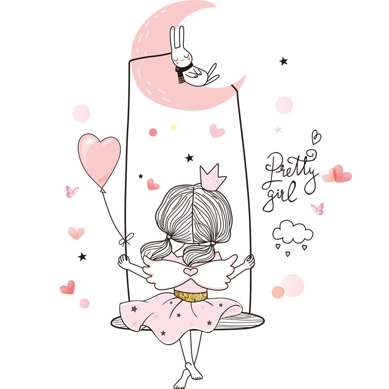 Girl on the Swing Wall Stickers DIY Dandelions Flowers Mural Decals for Kids Rooms Baby Bedroom Home Decoration Accessories