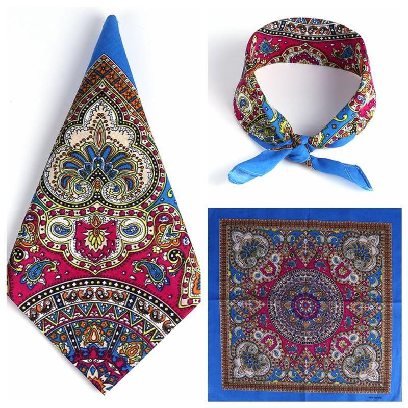 Pañuelo de hip hop estilo étnico para mujer y hombre estilo Punk bufanda cuadrada con estampado Floral de cachemir colorida brillante para ciclismo y baile
