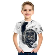 Camiseta de manga corta para niños con estampado 3D de gato de dibujos animados, camiseta bonita con estampado 3D de Panda para niño y niña, Camiseta estilo Tide Top