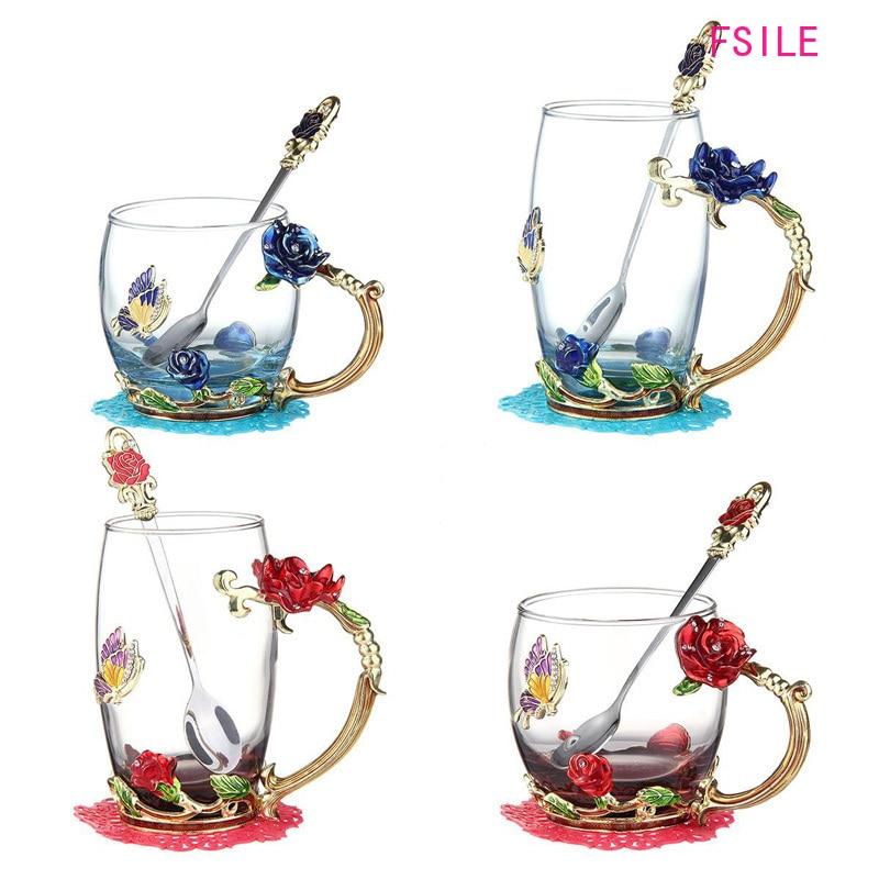 Эмалированная прозрачная стеклянная кофейная чайная кружка с голубыми розами термостойкая чашка набор с ложкой из нержавеющей стали и салфеткой