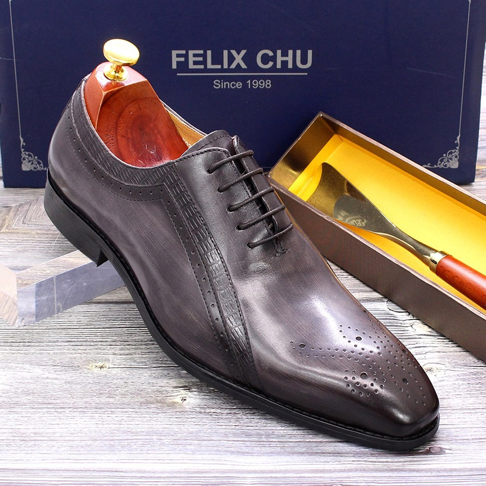 Big Size 6 To 13 Mens Dress Shoes Oxfords Genuine Leather Brogue Gray Lace Up Pointed Toe Office Business Formal Shoes for Men