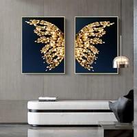 WTQ     affiche moderne avec ailes de papillon en noir et en or  retro  peinture sur toile  decor mural  Art mural  decor de salle  decoration de maison