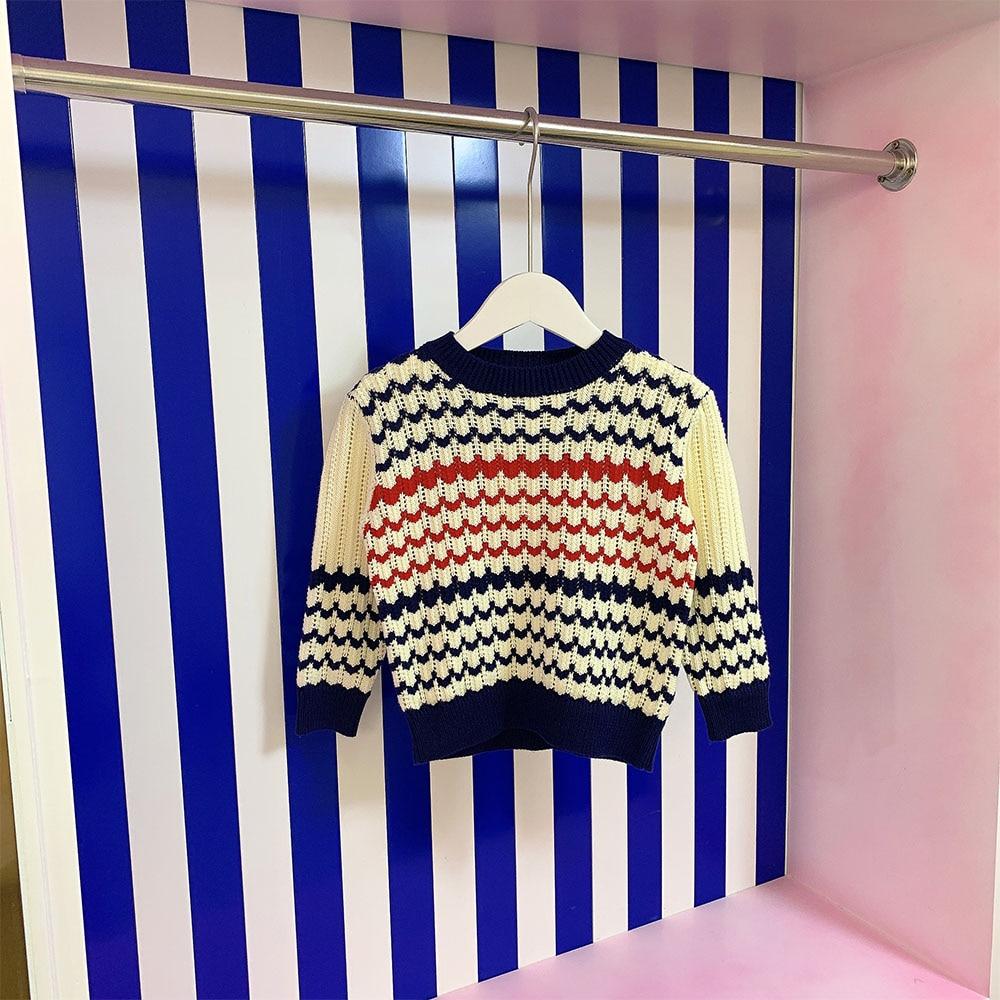 العلامة التجارية مصمم الأطفال الفتيان والفتيات محبوك سترة 2021 جديد الجولة الرقبة طويلة الأكمام الخريف معطف ثوب أطفال