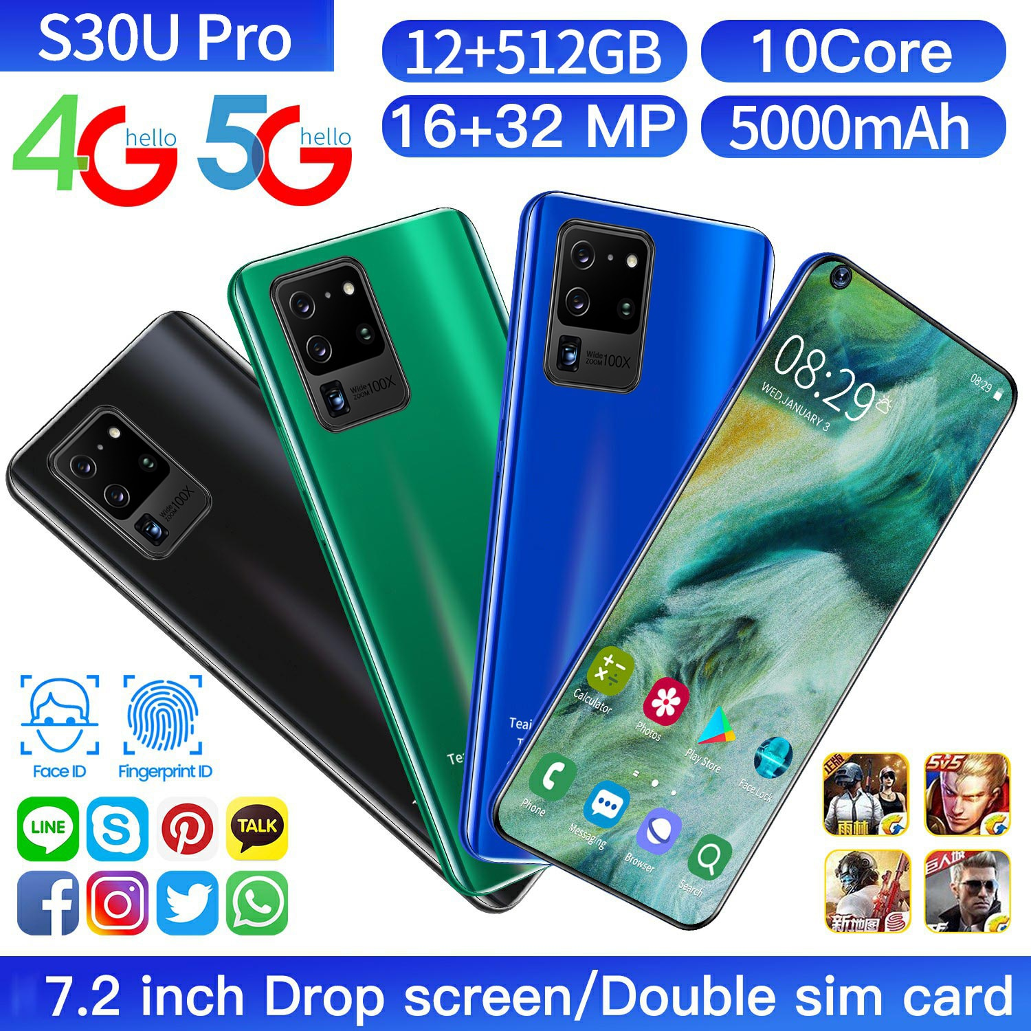 Galay S30 Ultra Mobile Phones 7.2 Inch 4G 5G Network Octa Core ROM Andorid 10.0 Smartphones Global Version 12GB RAM 512GB