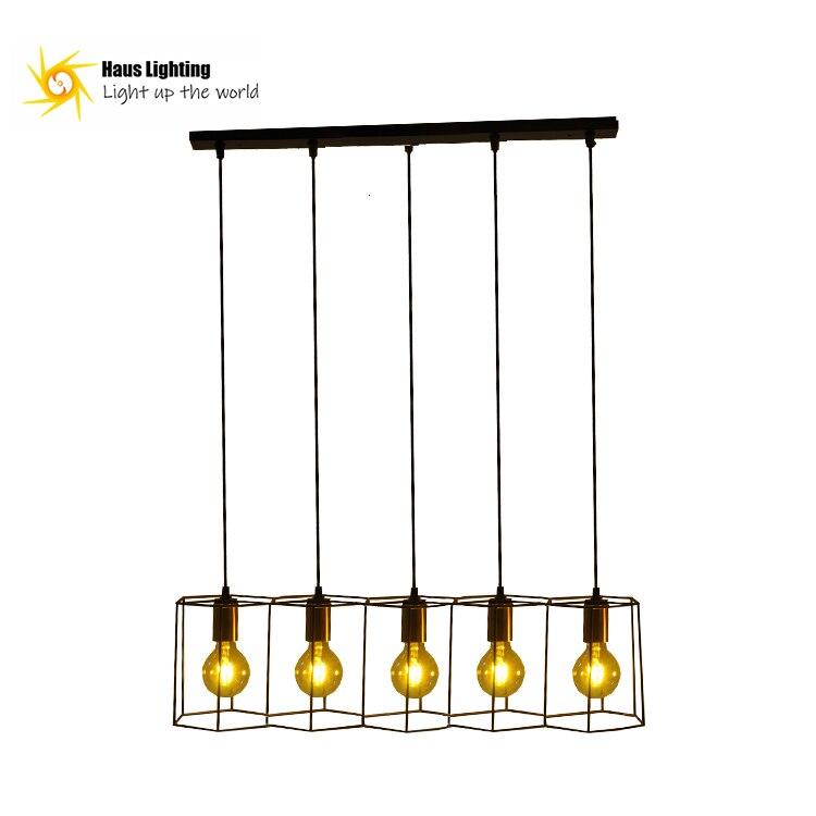 Proveedor Industrial lámpara negra Hotel café Oficina vestíbulo luz Led lineal de acero jaula de pájaros decoración lámpara de araña