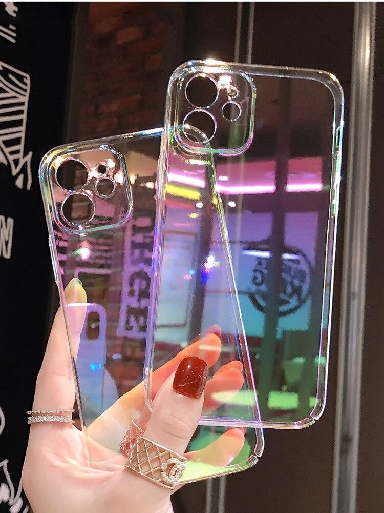 Funda de lujo chapada en arcoíris brillante para iPhone, carcasa de lujo...