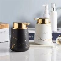 Distributeur de savon de salle de bains a motifs de marbre mat  ensemble de bouteilles de Lotion en ceramique nordique  contenant de savon liquide  accessoires de salle de bains