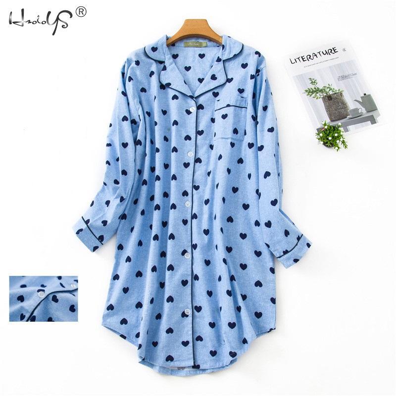 Printemps décontracté nuits femmes coton à manches longues chemise de nuit surdimensionné sommeil chemise 100% coton vêtements de nuit pour les femmes pj chemise de nuit
