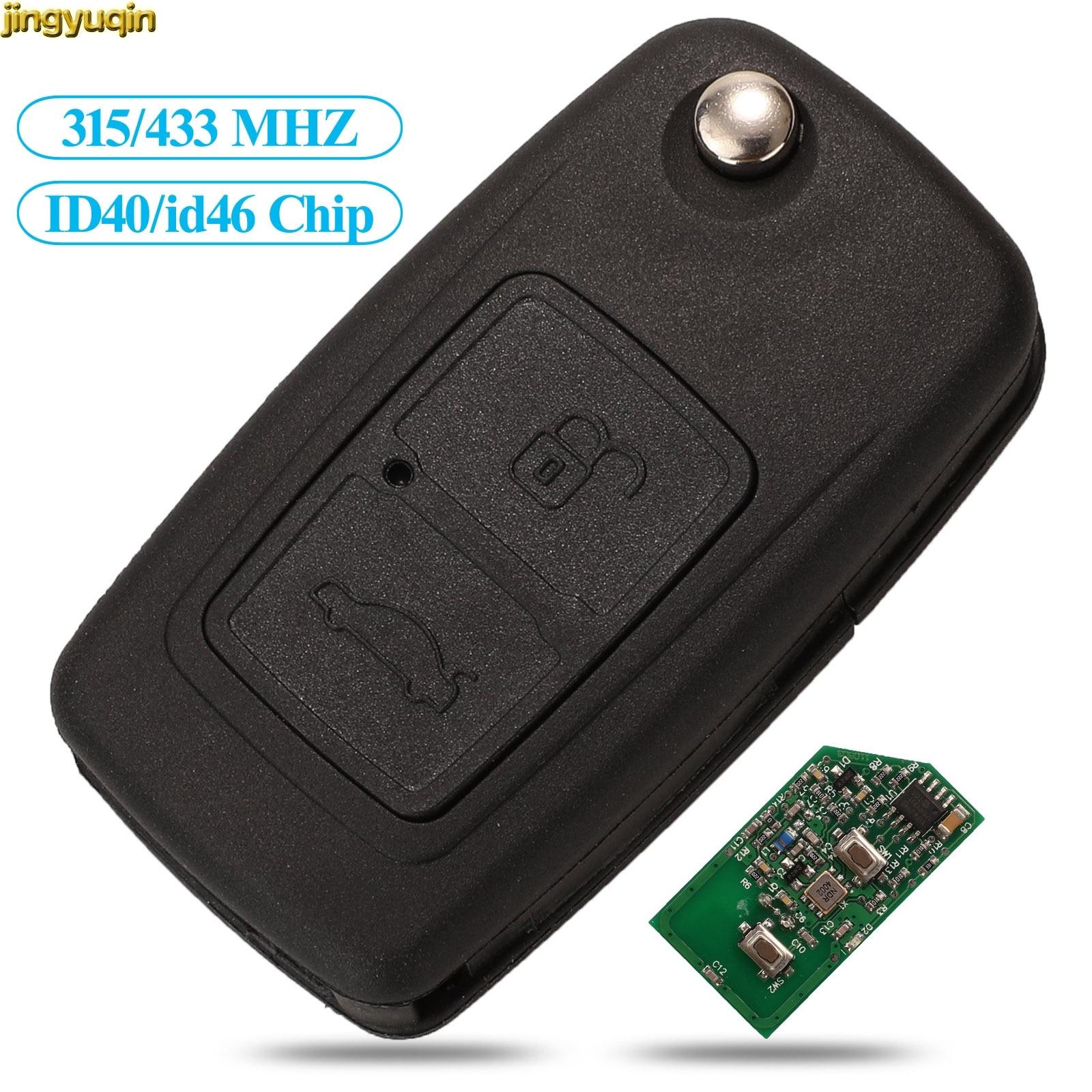 Jingyuqin controle remoto chave do carro 315/433 mhz id40/id46 chip para chery a5 a3 antes de 2009 2 botão 9cn a21 lâmina