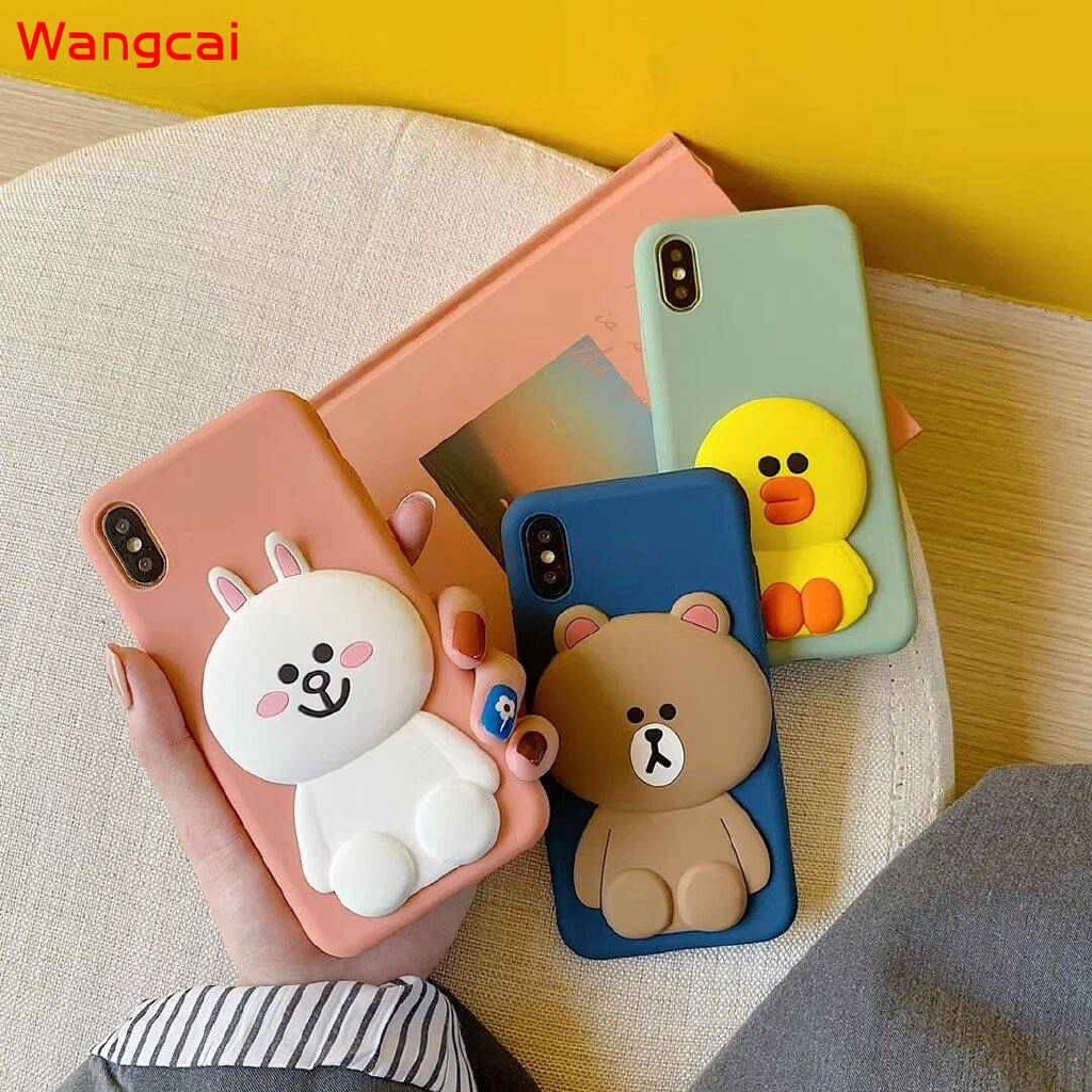 Para Samsung Galaxy S20 Ultra Plus A51 A71 A21 A11 A01 teléfono caso 3D oso conejo pato amarillo de dibujos animados lindo Caramelo Suave de la cubierta del TPU del