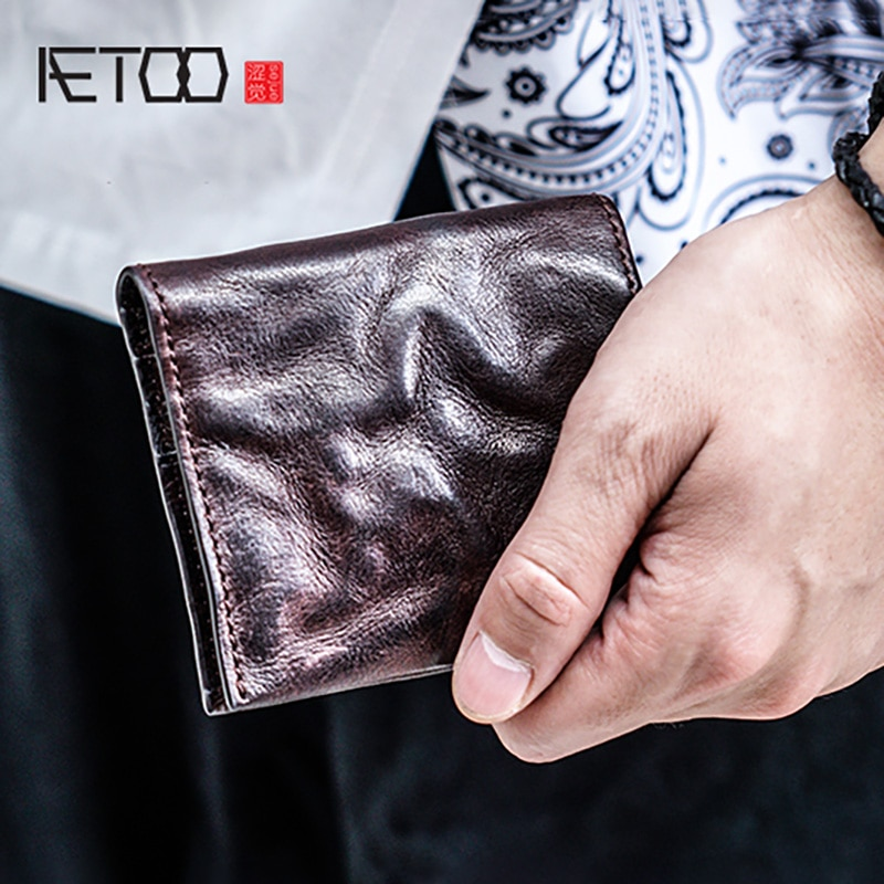 AETOO Male youth vintage retro wallet, male short leather fold make old personality ultra-thin small wallet