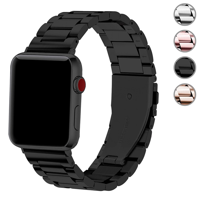 metal strap for apple watch 4 5 band 44mm 40mm apple watch band 42mm 38mm iwatch series 5/4/3/2/1 Stainless Steel bracelet belt woman strap for apple watch band 40mm 44mm link bracelet iwatch band 38mm 42mm stainless steel for apple watch series 6 5 4 3 2
