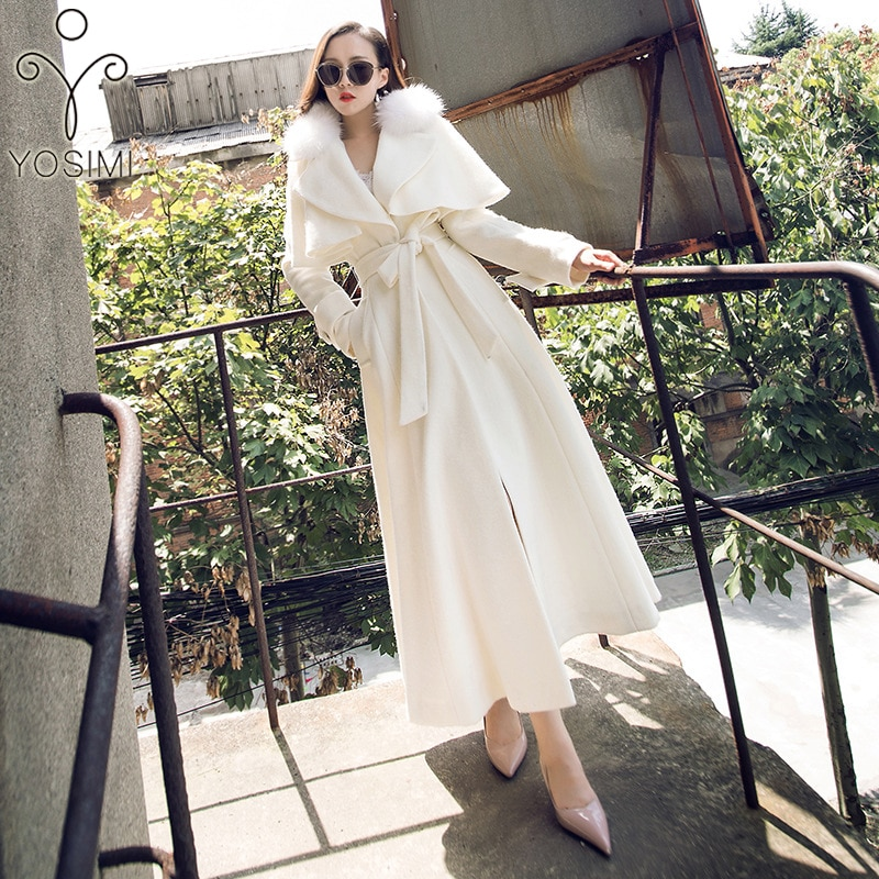 YOSIMI 2019 abrigo de invierno las mujeres Maxi elegante lana larga abrigo para mujer Outwear de lana de manga completa Abrigo largo con piel de cordero Collar