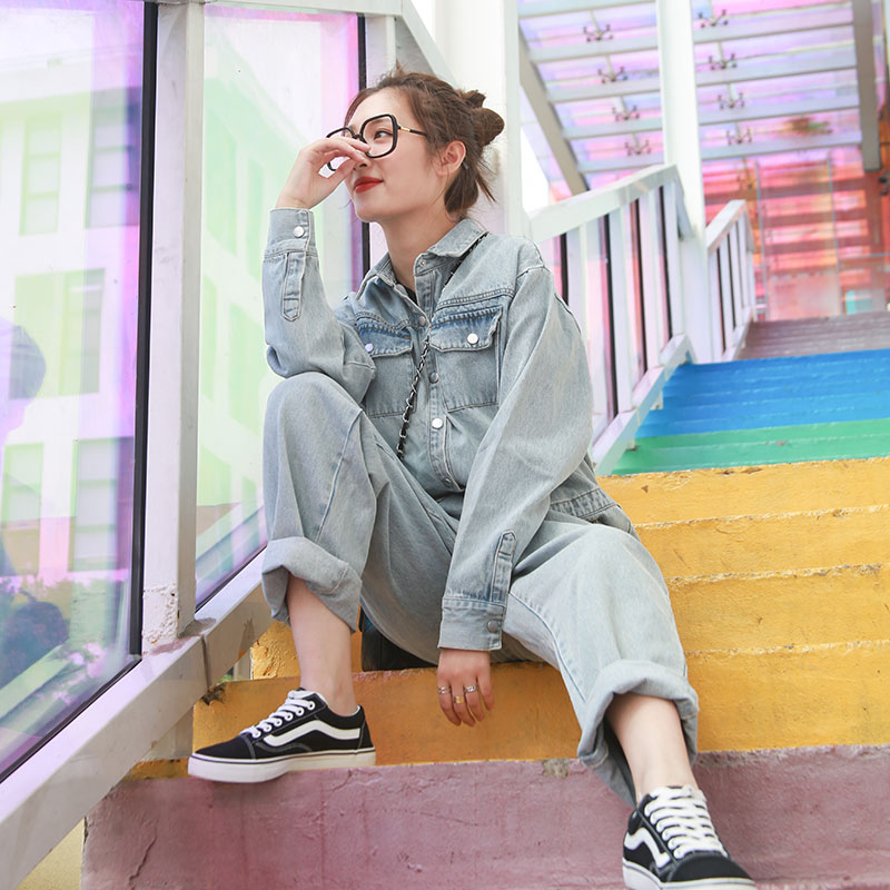 Autumn winter outfit new loose figure hot print straight tube high-waisted jean jumpsuit women long sleeve onesie suit