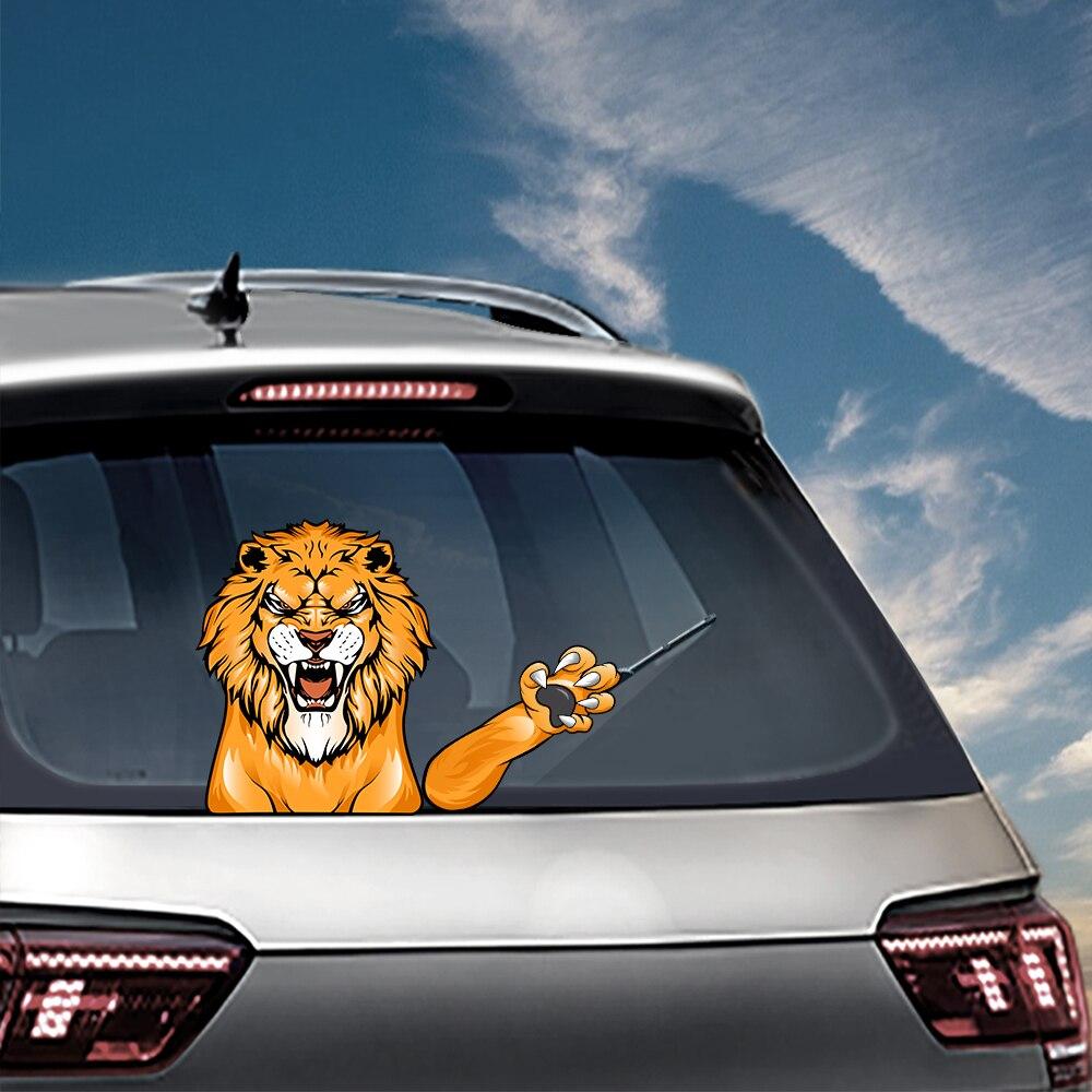Extraíble enojado León coche saludando limpiaparabrisas PVC pegatinas ventana trasera del coche del parabrisas del estilo pegatinas calcomanías para accesorios externos