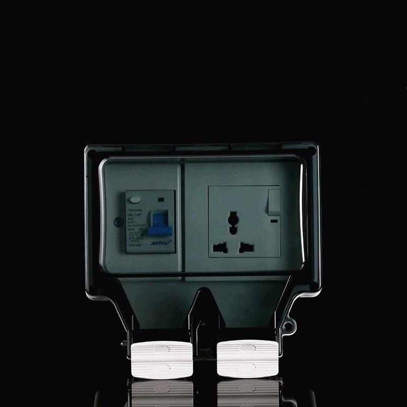مفتاح حماية ضد التسرب مع 3 فتحات ، مقبس مقاوم للماء IP66 ، معيار عالمي متعدد الاستخدامات ، 250 فولت ، 16 أمبير