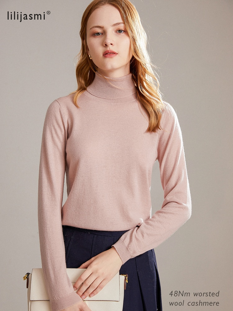Pulôver de lã de cashmere de lã superfina camisola fina sólida 48nm de lã de lã de cashmere worsted jumpers 9 novas cores