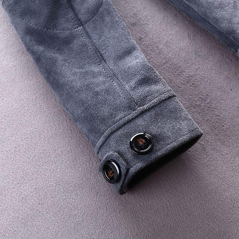 Luxury Men Cow Suede Casual Short Biker Jacket Brand Lapel Slim Autumn Outerwear Vintage Long Sleeve Zip Gray Work Coat Male