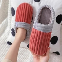 women slippers 2021 simple striped home couple shoes indoor warm and non slip winter slippers for male big size