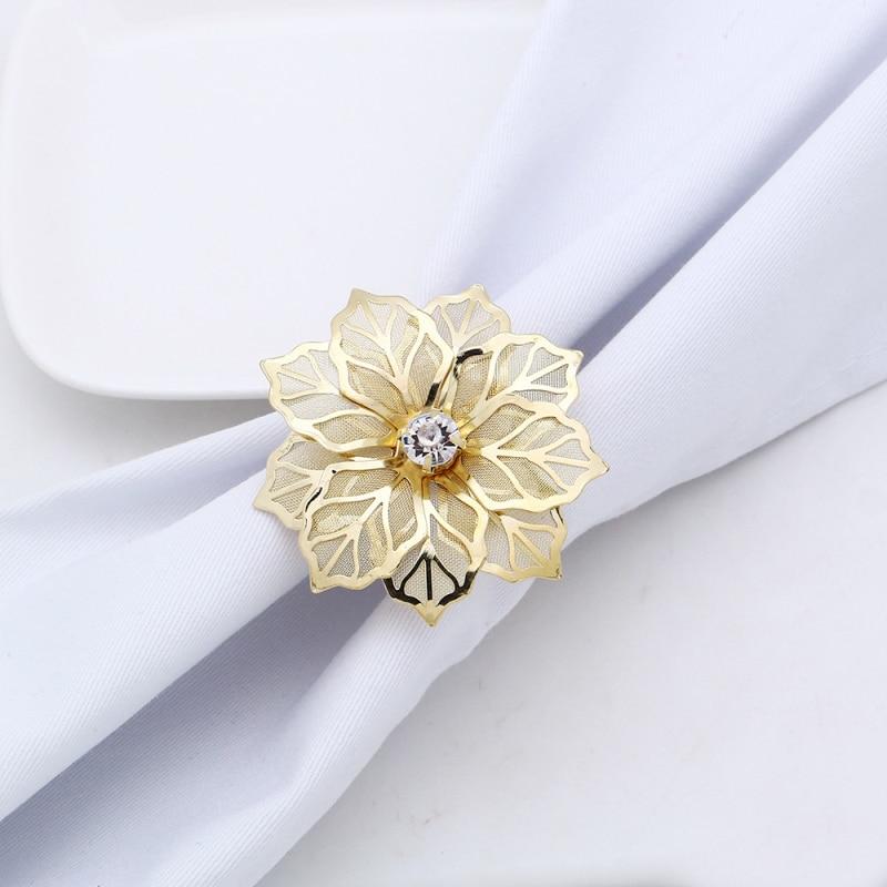 1 Uds anillo de servilleta hueco oro plata anillos para servilletas con forma de flor sillas elegantes hebilla inicio Hotel festivales suministros de decoración