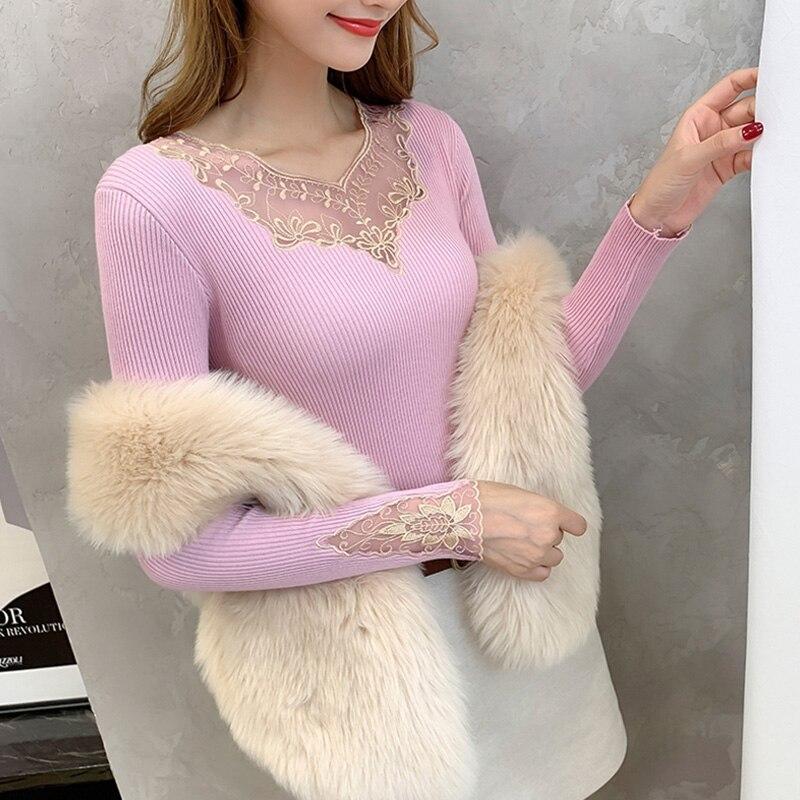 Розовый джемпер, свитера, женские вязаные топы с вышивкой, модные женские пуловеры, женские осенне-зимние свитера 2020, Pull femme, черные