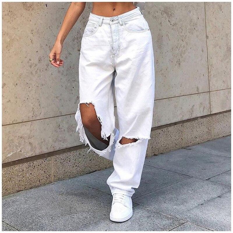 Женские винтажные брюки, широкие джинсы, брюки со средней талией, бойфренды, Модные свободные, разрушенные, женские белые классические мешк...