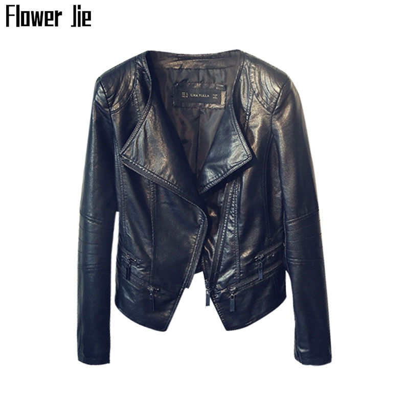 Autumn Faux Leather Jacket Women Moto & Biker Black Outwear Mujer Ladies Slim Pu Washing Spring Short Leather Coat Female jielur autumn winter leather jacket women black zipper short coat slim korean pu kpop leather clothing mujer coat 2019 new s xl