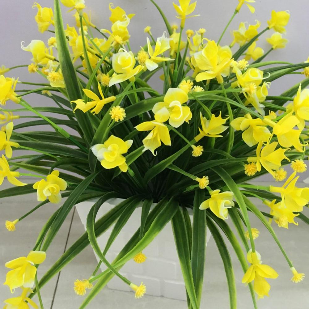 Cabeça 21/Buquê de Flores Com Folha de Decoração de Casamento de Simulação Phalaenopsis Flor Artificial Partido Home Decor