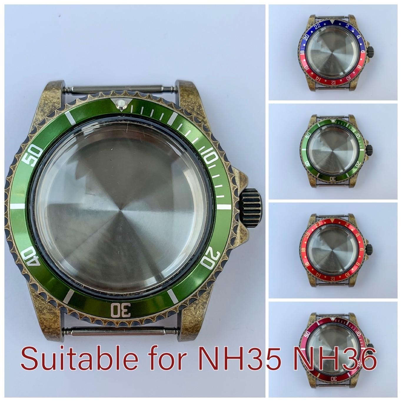 Watchcase خمر الصلب حالة 1960 39.5 مللي متر ل NH35 NH36 حركة الاكريليك مرآة البرونزية الحافة الألومنيوم إدراج ساعة غطاء أجزاء