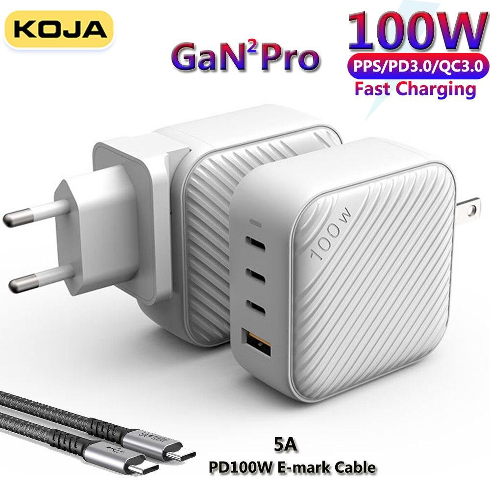 KOJA100W غان الجدار شاحن 4-Port USB-C محول الطاقة PD3.0PPS/ QC4.0 لماك بوك آيفون محمول سامسونج هواوي شاحن الهاتف السريع