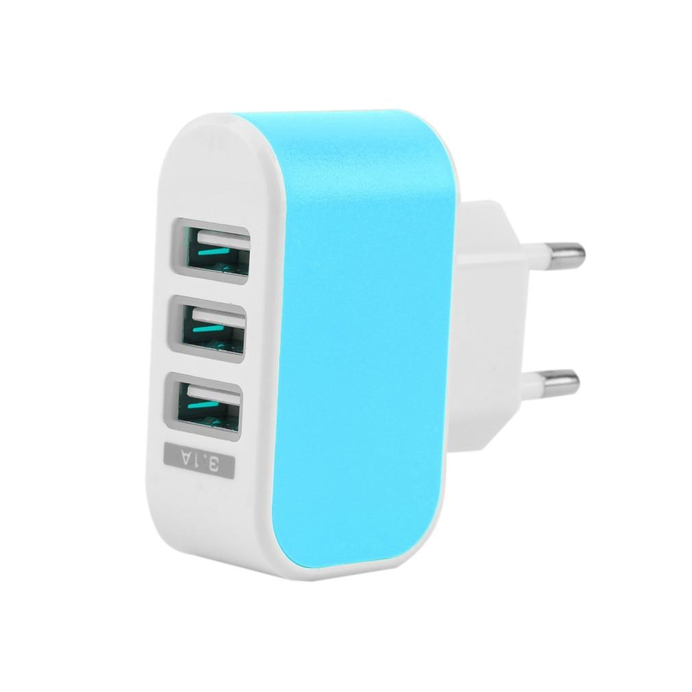 Plugue DA UE LEVOU 3.1A 3-porto Triplo USB Viagem AC Power Adapter Início Carregador de Parede para O Iphone Samsung LG DC conecte Comutação ONLENY