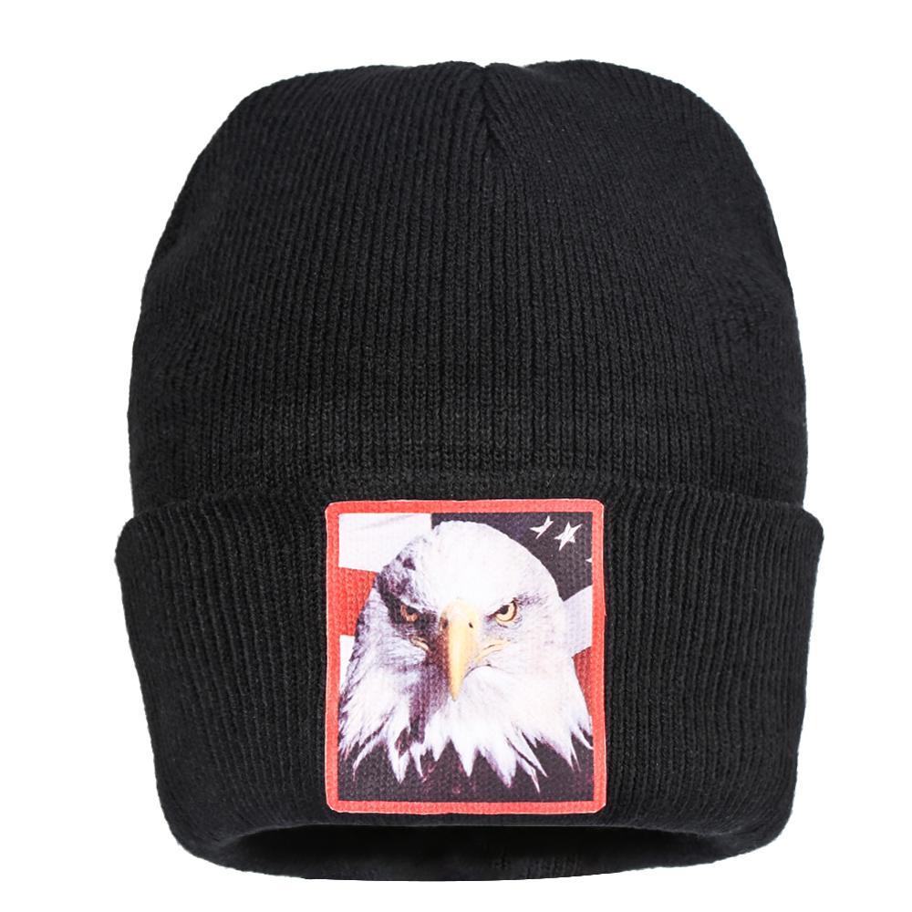 Gorros negros sombreros de punto de águila de Mar Blanco sombrero de punto bandera americana Logo de halcón Crochet Skullies Skullcap pompón elegante todo-fósforo gorras