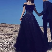 elegant navy blue tulle beaded ball gowns off the shoulder floor length prom dresses special occasion dresses high quality