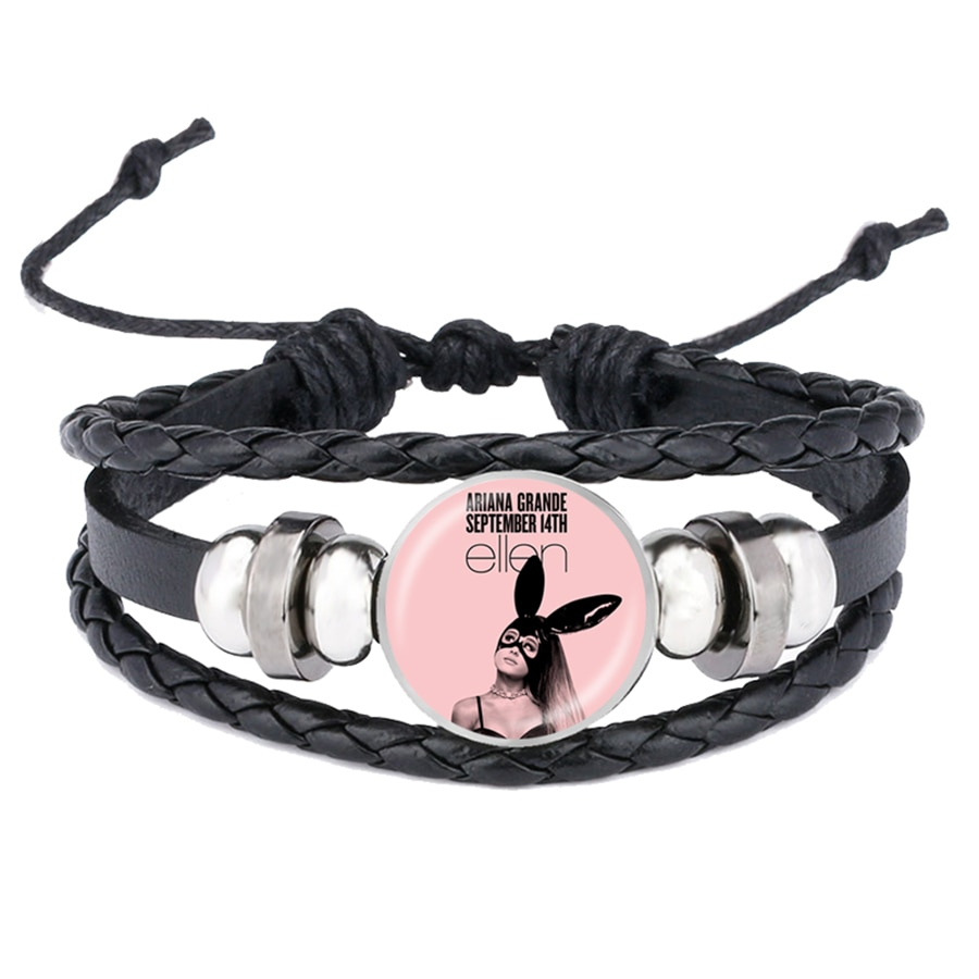 Ariana grande pulseiras 7 anéis fãs de música lembranças superstar arte cartaz de vidro cabochão pulseiras de couro moda jóias