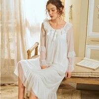wasteheart women homewear white pink sexy sleepwear nightdress o neck lace nightwear long luxury nightgown female court gown