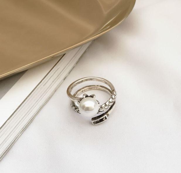S925 Thai argent dame anneau rond rétro mode naturel perle deau douce bague ouverte mondiale livraison gratuite bague gothique
