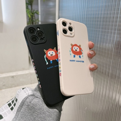 Phone Case For iPhone 11pro max 12mini pro max 7p/8plus X/Xs max XR Back Cover Phone shell Painted Soft Glue cartoon couple Cute