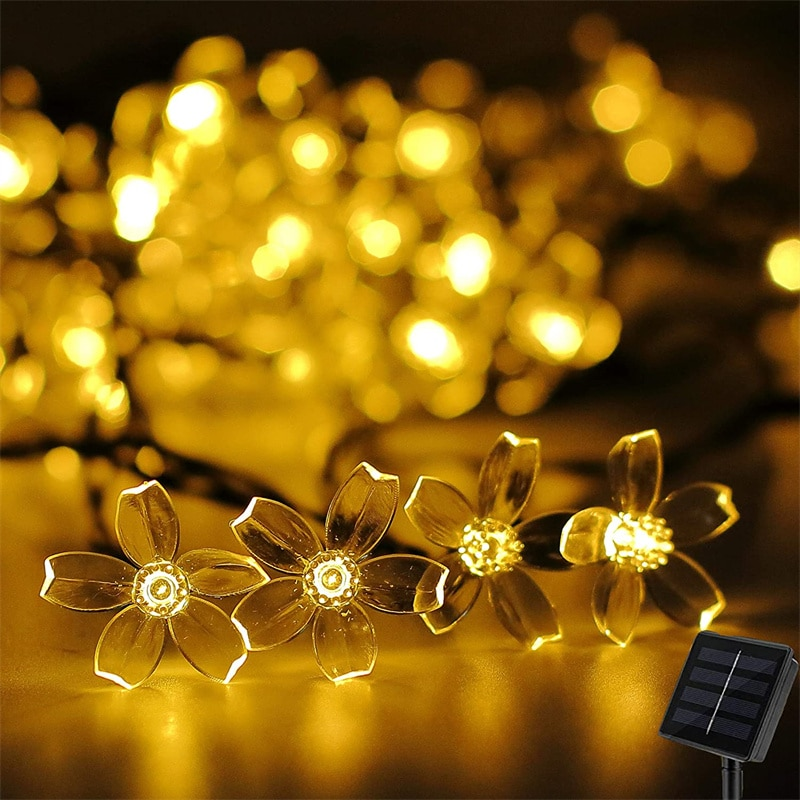 Solar Flower String Lights Outdoor Waterproof Cherry Blossom String Light 8 Modes Solar Fairy Light for Patio Garden Party Decor