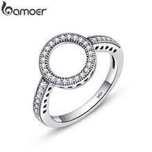 Bamoer 100% Echt 925 Sterling Zilver Blijvend Clear Black Cz Cirkel Ronde Vinger Ringen Voor Vrouwen Sieraden Kerstcadeau SCR041