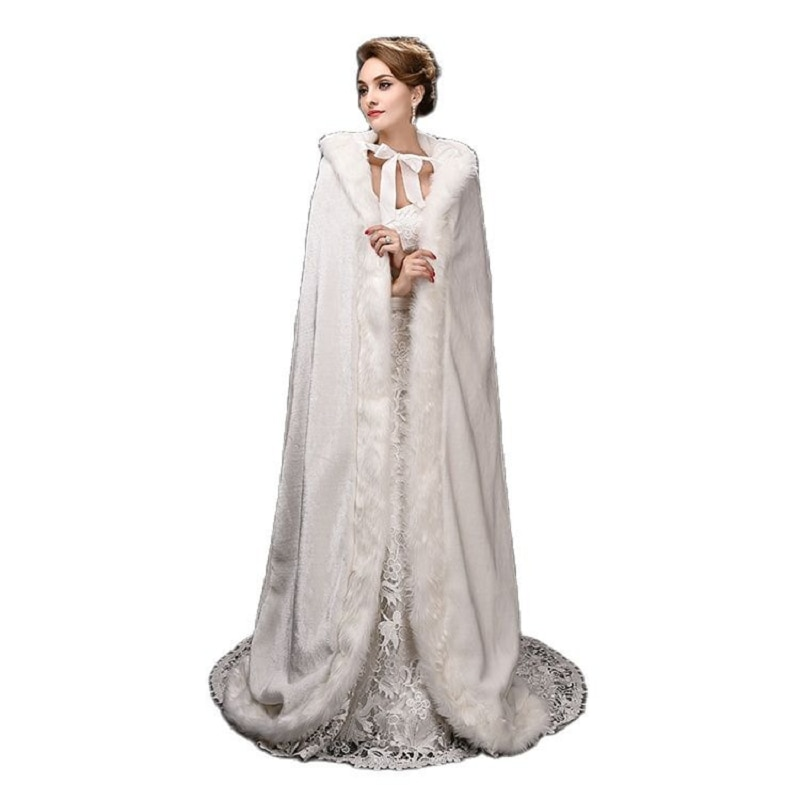 Europe and United States 2016 Women winter Clothes long trailing big yards hooded cloak coat bride's cloak faux fur shawls
